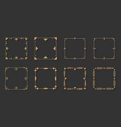 Gold line frame vintage decor border set vector