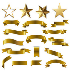 golden ribbons and stars set vector image