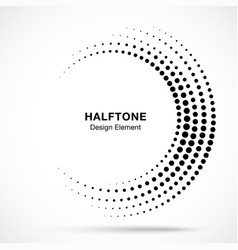 Halftone incomplete circle frame dots vector