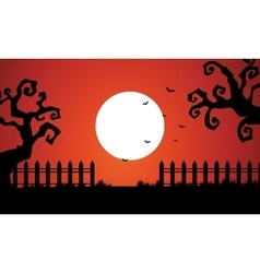Halloween dry tree and full moon backgrounds vector