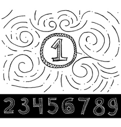 Hand Drawn Numbers with swirl pattern vector image