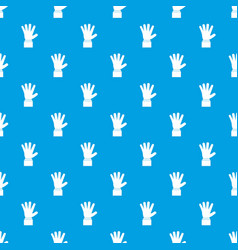hand showing five fingers pattern seamless blue vector image