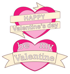 happy be my valentine day colorful poster hearts vector image