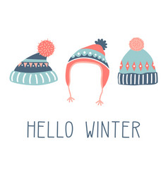 Hello winter colorful card vector