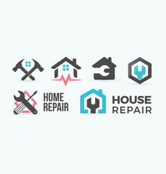 home repair flat cartoon style logo concept vector image