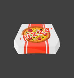 Hot fresh pizza box icon vector