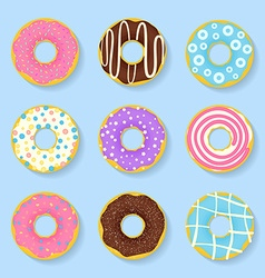 Icon set of sweet tasty donuts in glaze vector image