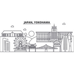 Japan yokohama architecture line skyline vector