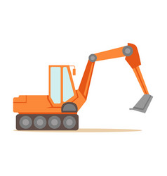 large orange excavator machine part of roadworks vector image