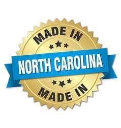 Made in North Carolina gold badge with blue ribbon vector