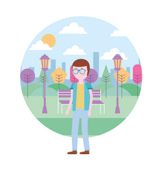 man with glasses standing in park city vector image