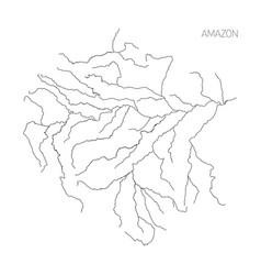 Map amazon river drainage basin simple thin vector