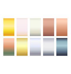 Metallic color palette gradient background set vector