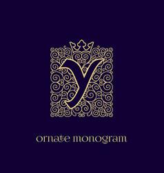 Monogram with crown y vector