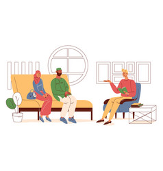 muslim family consulting at psychotherapist vector image