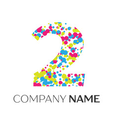 Number two logo with blue yellow red particles vector