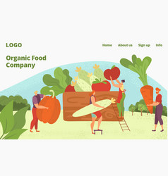 organic farm healthy food delivery vegans and vector image