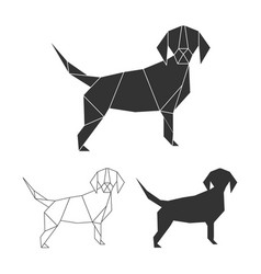 Origami dog set line silhouette and vector