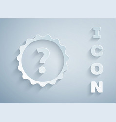 Paper cut question mark icon isolated on grey vector