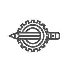 pensil with gear line icon vector image