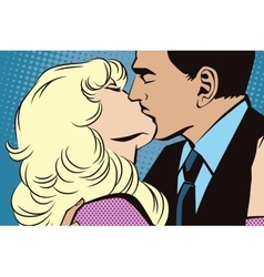 People in retro style pop-art Kissing couple vector