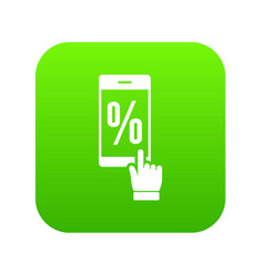Percent on screen icon green vector