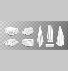 Realistic towels 3d bathroom terry cloth rolled vector