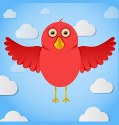 Red cartoon birdin the sky vector