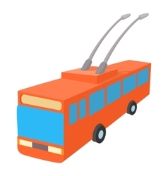 Red trolleybus icon cartoon style vector