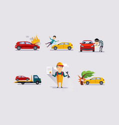 road accidents set car crash insurance and risk vector image