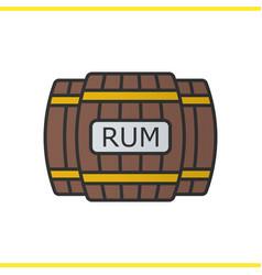 Rum wooden barrels color icon vector