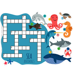 Sea animals crossword template with cartoon vector