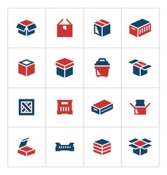 Set color icons of box vector image