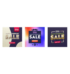 set colorful banners with abstract pattern vector image