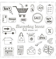 Set of doodle sketch shopping icons vector image