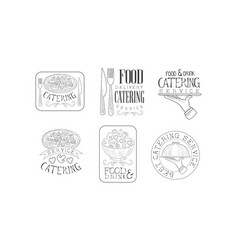 set of sketch emblems for catering or food vector image