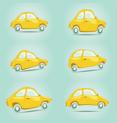 set of yellow cartoon cars vector image