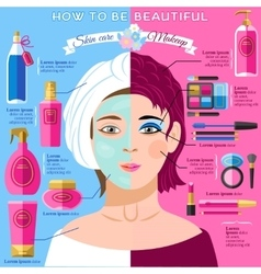 Skincare makeup beauty infographics poster vector