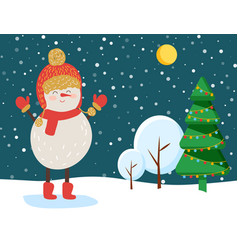 snowman in winter snowy forest christmas eve vector image