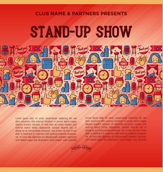 stand up comedy show concept with thin line icons vector image