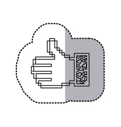 Sticker contour of pixel thumb up and sleeve with vector