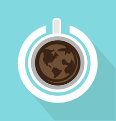 top view of coffee cup with power on with long vector image