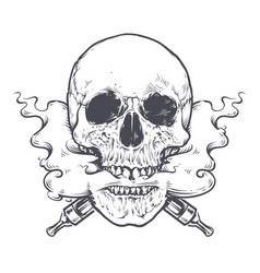Vaping skull art vector