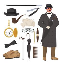 victorian gentleman set flat isolated vector image