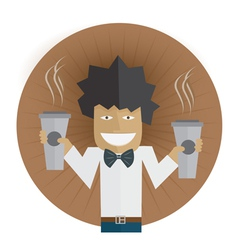 Waiter carrying two cups coffee vector