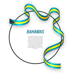 Waving ribbon flag bahamas on circle frame vector