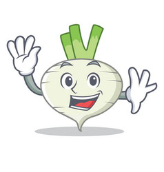 Waving turnip character cartoon style vector