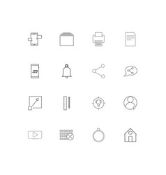 Web and text simple linear icons set outlined vector