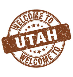 Welcome to utah brown round vintage stamp vector