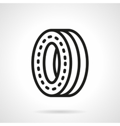Wheel for skateboard black line design icon vector image